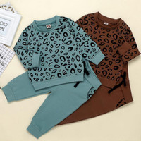 Baby Designer Clothes Girls Leopard Tops Solid Pants 2pcs Sets Long Sleeve Toddler Outfits Boutique Baby Clothing 2 Colors DW5606