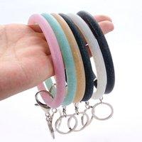 Bracelet en silicone Porte-clés Bracelet Glitter Bracelets sports Keychain Porte-clés avec anneau en métal mignon Bangles Keyring Party cadeau YFA2074