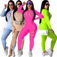 Fashion Black Brief gedruckte Frauen Anzug Langarm Pullover Tops + Pants Leggings 2ST Set Breath Outfit Sports S-2XL Geschenke Neu