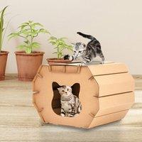 Stone DIY Cat House Corrugated Paper Scratcher Board Mattress Trash Can Kitten Pet Carton Toy