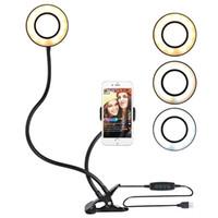 Selfie Luz del anillo con soporte para teléfono celular clip para Transmisión en vivo y poder maquillaje USB LED de luz de la cámara con brazos largos para el iPhone teléfono Android