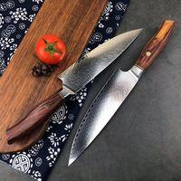 Damaskus cuchillos Keukenmeubels Siam Palisander profesionales japanisches Kochmesser Cleaver Slicer Küchenmesser Utility-Schnipsel-Kochmesser