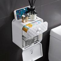 Papel toalha Dispenser Wall Mounted No-perfuração de papel Prateleira Titular Banho Coreless Toilet Tissue Dispenser Sacos de lixo Titular H