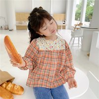 Newest INS Little Girls Flower Plaid Blouses Shirts Cotton g...