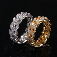 Hip Hop Jewelry Diamond Stones Anillos helados Out Cuban Link Chain Men Gold Silver Anillo