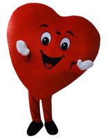 2020 High quality hot Adult Size Red Heart Mascot Costume Fa...