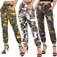 Bayan Camo Kargo Pantolon Pantolon Şık Rahat Pantolon Ordu Savaş Kamuflaj Elastik Bel Sweatpants Artı Boyutu