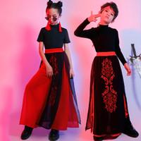 Bühnenkleidung Kinder Hip Hop Outfits Für Jungen Mädchen Kleidung Antike Volk Dance Kostüme Chinesische Hanfu Stil Top + Rock Kids Kostüm