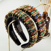 Luxury Full Красочный Кристалл головная повязка для женщины Hand Made Металлические цепи губки Hairband женщина Свадьба партии аксессуаров для волос