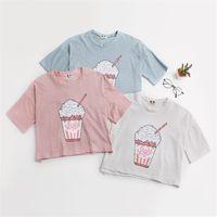 Frohe Hübsche neue Frauen des Sommers T-Shirt Eis Harajuku Creme koreanischen Stil Baumwolle lose Erntespitze kawaii T-Shirt weibliche lustige T-Tops CX200714