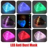 DHL 2020 LED 안티 먼지는 USB 충전 페이스 마스크 브레이크 댄스 음악 파티 할로윈 보호와 7 색상 변경 가능 야광 빛 레이브 마스크