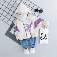 WENWENDEXINGFU Осень ребёнки Одежда Костюмы для малышей Infant одежда Комплекты с капюшоном пальто тенниска Брюки Дети Повседневный Костюм