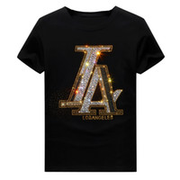 Mens Summer Hot Drill Rhinestone Short Sleeve T-shirt Crew Neck Pullover Tops Hip Hop Style Cotton Blend Breathable