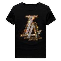 Erkek Yaz Sıcak Matkap Rhinestone Kısa Kollu T-shirt Ekip Boyun Kazak Tops Hip Hop Tarzı Pamuk Karışımı Nefes
