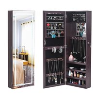 WACO Door Back LED Mirror Jewelry Armoire Display Storage Drawers,LED Lights Necklace Hooks Organizer, Jewelries Rack Shelf Dressers Cabinet Brown