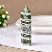 10Pcs Natural Green Zebra Jasper Stone Quartz Crystal Hand Carved Polished Point Wand Tower Obelisk Healing 4-9cm Various Sizes Wholesale