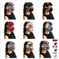 Spor Kadınlar Kız Kamuflaj Bohemya Floal Stil Başkanı Wrap Saç Bandı Spor Düğme Kafa bandı için Yüz Maskeleri Tutucu Headband saç bandı