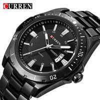 Armbanduhren curren volle edelstahluhr schwarz analog sport männer quarz business casual armbanduhr relogio männlich