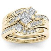 Принцесса Шарм Кристалл 14K желтое золото белый топаз кольцо Anniversary подарка помолвки Свадебные Обручальные кольца ювелирные изделия для женщин Ladies Размер 5-10