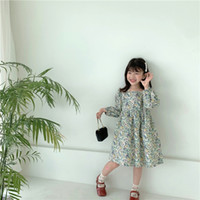 INS Spring Autumn Little Girls Dresses Lovely Floral Buttons...