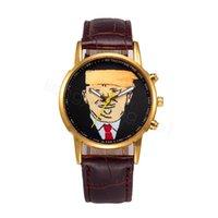 ترامب كوارتز ساعة ساعة اليد الكرتون الكلاسيكية والأزياء ووتش مع PU الشريط لإمدادات صالح الرجال نساء حزب FFA4310-6