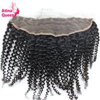 Atina Rainha Afro Kinky Curly 13x4 orelha à orelha Lace frontal Encerramento com bebê Cabelo Natural da linha fina de 100% Remy Cabelo Humano Navio grátis