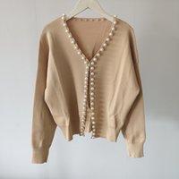 새로운 숙녀 숙녀 진주 버클 긴팔 니트 카디건 자켓 V 넥 스웨터 무료 배송