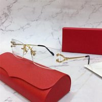 Оптовая Новые конструкции способа оптические очки 2452233 Ретро Металл бескаркасных Прозрачный объектив ретро Классический Clear очки