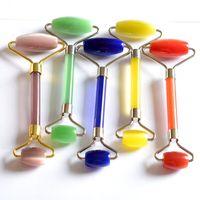 Caras Masaje Jade Natural de cristal rodillo Polvos Rodillos Gua Sha belleza cara más delgada colorido 16ymb orden de ensayo E2