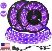 US-Aktien + LED-UV-Schwarz-Licht-Streifen Kit 12V Flexible Schwarzlicht-Befestigungen 33FT 10 m LED-Band für Indoor-Fluorescent-Tanz-Geburtstags-Hochzeit