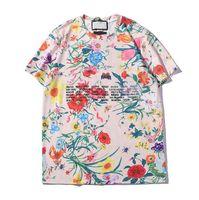 Lettres Printted Hommes Femmes T-shirt chaud de mode T-shirts à manches courtes femme Hauts couples avec des fleurs T-shirt Taille S-2XL