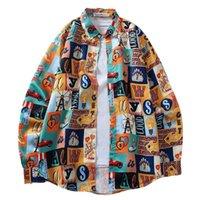 Shirt longo da luva dos homens MISSKY Retro estilo solto All-jogo Casual Praia Protetor solar Roupas Masculino Tops Nova Primavera Outono