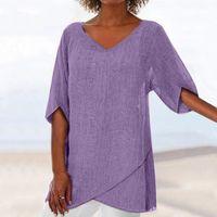Moda bluz kadın artı boyutu 2020 Yaz Düzensiz Katı Bluz Z4 üstleri üstleri ve bluzlar Shein haut femme kadınları womens