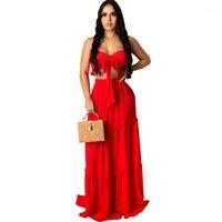 Designer Maxi Vestidos Com Bra oco Out Womens Two Piece vestido sem alças envolto peito das mulheres Vestidos Ruffle Sólidos Longo Cor