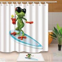عالية الجودة دش ستائر مضحك الضفدع الحمام الستائر الحديثة بسيط نمط الديكور المنزلي مقاوم للماء مع 12 خطاف البلاستيك