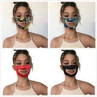 Şeffaf Yüz Maskesi Dudak Dil Baskı Çiçek Sağır dilsiz Okuma Ağız Temizle Pencere Kapak Ayarlanabilir Yıkanabilir Yeniden kullanılabilir Koruma