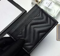 2020 حاملي بطاقة الأزياء الجديدة امرأة رسالة مصغرة محفظة الجملة مصمم لون نقي جلد طبيعي محفظة سوداء مع صندوق شحن مجاني