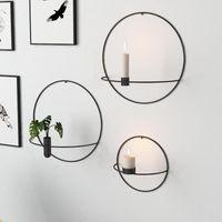 Современное искусство 3D Настенная подсвечник металлический Vintage Висячие Сухой цветок Ваза Геометрический чай света Home Decor Подсвечники