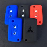 ZAD 2 botões de silicone chave do carro caso capa Proteção Para Mitsubishi Lancer 10 Outlander 3 Pajero Esporte remoto chave do carro Acessório 0vkT #