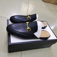 Erkekler Kadınlar Katır Princetown Kürk Terlik Mules Flats Gerçek Deri loafer'lar Ayakkabı Metal Zinciri Bayanlar Nakış iskarpin Büyük Boyut