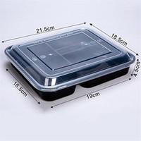 150pcs / cartone monouso Plastch Box Plack Box Fast food Boxes 1000ml Black Tresparent Tre Grid Takeaway Box con coperchio Microwave Uso
