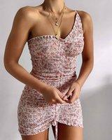 De alta calidad de 2020 mujeres de un hombro acanalada Indi mini vestido en color beige floral femenino de vacaciones mini vestido