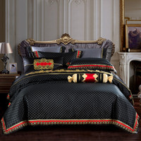 2020 Algodão de Silk de Luxo Jacquard Black Bedding Conjunto Capa de Quilt Conjuntos de Cama Plana Fronhas De Cama Rainha King Size 4/6/8 / 9pcs