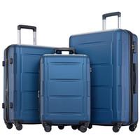 """3 st Bagageuppsättning, Portable ABS-vagnsfall 20 """"/ 24"""" / 28 """"Blå, expanderbar 8-hjulspinnare Spinner Bagageuppsättning med teleskophantering, CO"""