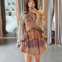 الخريف موضة جديدة امرأة 2 قطعة البسيطة اللباس نفخة طويلة الأكمام الكشكشة الأزهار الطباعة مع بطانة فستان قصير أنيق vestidos