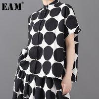 Женские блузки Рубашки [EAM] Женщины черная точка напечатаны большой размер блузки стойки воротник с коротким рукавом свободная подходит рубашка мода весна лето 2021
