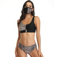 Mulheres Bikins Define com máscara Sets Leopard magro mangas Patchwork Mulher Cor Swimwears Moda 3Pcs bating
