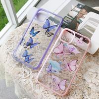 Симпатичные лазерные фиолетовые бабочки чехол для iPhone 11 Pro Max SE 2 2020 XR X XS MAX 7 8 плюс блеск прозрачный силиконовый крышка Coque