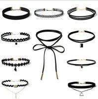 Terciopelo Encaje Negro Gargantilla mujer tira de collar partido de la joyería de cuello gargantillas accesorios hechos a mano collar de cadena GD394