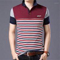 Collar para hombre del diseñador del Mens Tops rayada remiendo Polos cortos ocasionales de la manga delgada del contraste del color de moda Turn Down